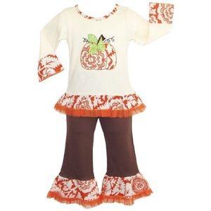 ANN LOREN Pumpkin Fall Thanksgiving top pant 2T
